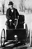 "Henry Ford (1863-1947), American engineer, on his first car, the ""Quadricycle"", 1896.  © Roger-Viollet"