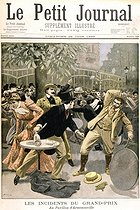 "Dreyfus affair. Fight in the pavilion of Armenonville, after the closing of the Grand-Prix of Longchamp, on June 20, 1899, between nationalists and republicans, after the general Haberdasher's indictment. Engraving by Damblans, ""Le Petit Journal"", on June 25, 1899. © Roger-Viollet"