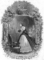 """Lucile de Chateaubriand (1764-1804), the writer's sister, looking into a mirror on August 10, 1792 and shouting """"I just saw death"""". Illustration for """"Mémoires d'outre-tombe"""" by François-René de Chateaubriand, Book III, chapter 4. Engraving by F. Delannoy after G. Staal. © Roger-Viollet"""