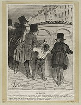 Honoré Daumier (1808-1879). Onlookers, crowd watching a fisherman on the banks of the river Seine. Lithograph, 1845. Paris, musée Carnavalet.  © Musée Carnavalet/Roger-Viollet