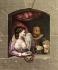 """""""Le roi Henri IV et sa maîtresse Gabrielle d'Estrées"""". Gravure de Pinault d'après Chevaux, vers 1780. Image colorisée. © Roger-Viollet"""