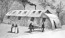 Hospital tent in the outhouses of the Beaujon home in Paris during an epidemic of influenza. On 1890. Drawing by H. Meyer.  © Roger-Viollet