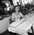Paulette Goddard (1911-1990), american actress. Paris (VIIth arrondissement), restaurant of the Eiffel Tower, 1951. © Roger-Viollet