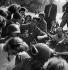 World War II. Liberation of Paris. Parisians surrounding soldiers from the 2nd Armored Division commanded by General Leclerc, place de l'Hôtel de Ville, on August 25, 1944. © Pierre Jahan/Roger-Viollet