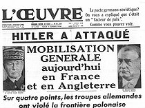 "World War II. Front page of the newspaper ""L'Oeuvre"". September 2, 1939. General mobilization in France and in England after the invasion of Poland.  © Roger-Viollet"
