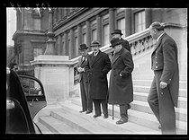 "World War II. From left to right : César Campinchi (1882-1941), French Naval Minister, Camille Chautemps (1885-1963), vice-president of the Council of ministers, and Edouard Daladier (1884-1970), French Minister of Defence, leaving the War cabinet. Paris (VIIIth arrondissement), on March 27, 1940. Photograph from the collections of the French newspaper ""Excelsior"". © Excelsior - L'Equipe / Roger-Viollet"