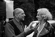 "Shooting of ""The Milky Way"", film by Luis Buñuel. Luis Buñuel and Delphine Seyrig 1968. Photograph by Georges Kelaïditès (1932-2015). © Georges Kelaïditès / Roger-Viollet"