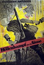 World War I. Hans Rudi Erdt (1883-1918). Battle in the Hell of the Aisne. Propaganda poster. Lithograph. Berlin (Germany), 1918. © Bilderwelt/Roger-Viollet