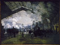 "Claude Monet (1840-1926). ""La gare St Lazare"", 1877. Chicago, Art Institute. © Roger-Viollet"