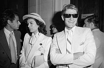 Wedding of Loulou de la Falaise (1948-2011) and Thadée Klossowski de Rola, son of the painter Balthus. Bianca Jagger and Yves Saint-Laurent (1936-2008), French fashion designer. Paris, on June 30, 1977.  © Jack Nisberg / Roger-Viollet