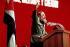 Fidel Castro (1926-2016), homme d'Etat et révolutionnaire cubain, prononçant un discours au comité central du parti communiste cubain. La Havane (Cuba), 10 février 1988. © Ullstein Bild/Roger-Viollet