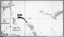 Map of the atoll of Bikini (Marshall Islands, Pacific). © Jacques Boyer / Roger-Viollet