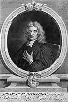 John Flamsteed (1646-1719), English astronomer. Engraving by Vertue after Gibson, 1712.    © Jacques Boyer / Roger-Viollet
