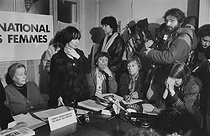 International Committee of Women's Rights. Press conference for the departure to Iran of French journalists investigating the women's situation under the Iranian revolution. From left to right: Simone de Beauvoir, Anne Zelanski, Benoîte Groult, Colette Andry. Paris, 1979. Photograph by Janine Niepce (1921-2007). © Janine Niepce/Roger-Viollet