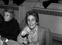 Francoise Giroud (1916-2003), French journalist and political woman. Sale of the Pen-Club. France, December 1981. © Roger-Viollet