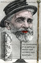 Auteuil hat shop. Satirical cartoon about Emile Loubet (1838-1929), French statesman. Humorous postcard by Orens, on September 23, 1902. © Roger-Viollet