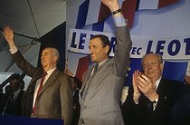 Edouard Balladur, François Léotard and Jean-Claude Gaudin, French politicians, during a meeting. Fréjus (Var), on March 18, 1995. © Jean-Paul Guilloteau / Roger-Viollet