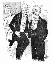"""Jules Méline (1838-1925), French poliician, and Emile Loubet (1838-1929), President of the French Republic. Satirical cartoon by G. Lion from """"Le Père la Pudeur"""", 1900. © Roger-Viollet"""