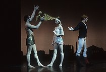 """Le martyre de Saint Sebastien"", ballet directed by Robert Wilson, music by Debussy and performed by Sylvie Guillem, Michael Denard and Patrick Dupond. Bobigny (France), Maison de la Culture, 1988. © Colette Masson / Roger-Viollet"
