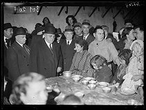"""Spanish Civil war (1939-1936). """"La Retirada"""". Albert Sarraut (1872-1962), French Minister of the Interior, and Marc Rucart (1893-1964), French Minister of Health, visiting Spanish refugees. Le Boulou (France), on January 31, 1939. Photograph from the Excelsior newspaper. © Excelsior - L'Equipe / Roger-Viollet"""