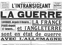 "World War II. Front page of the newspaper ""L'Intransigeant"". September 4, 1939. France and England declaring war on Germany after the invasion of Poland.  © Roger-Viollet"
