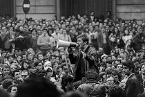"Events of May-June 1968. Student demonstration at the Latin Quarter. Daniel Cohn-Bendit (born in 1945), German-born politician, speaking during the sit-in, at place de la Sorbonne. Paris (IVth arrondissement), on May 9, 1968. Photograph by Claude Poensin-Burat, from the collections of the French newspaper ""France-Soir"". Bibliothèque historique de la Ville de Paris. © Claude Poensin-Burat / Fonds France-Soir / BHVP / Roger-Viollet"