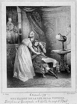Adolphe Marie-Alexandre (known as Menut, 1812-1883) and Delaunois. French Revolution, French Directory. Joséphine de Beauharnais and Napoléon Bonaparte at the hotel in the rue des Victoires (now demilished, in the IXth arrondissement), 1799 (Year VIII). Document from the cabinet of graphic arts. Lithograph. Paris, musée Carnavalet. © Musée Carnavalet / Roger-Viollet