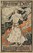 Eugène-Samuel Grasset (1845-1917). Advertising poster for a Joan of Arc show, performed by Sarah Bernhardt (1844-1923), French stage actress. Lithograph, 1889-1890. Paris, Bibliothèque Forney. © Bibliothèque Forney / Roger-Viollet