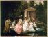 """Jean Louis Victor Viger du Vigneau (1819-1879). """"La Rose de Malmaison"""", 1866. De g. à dr. : Emilie de Beauharnais (Mme de Lavalette), Julie Clary (Mme Joseph Bonaparte), Pauline (veuve de Leclerc), Mme Devaux (dame d'honneur), Mme de Lucaux (dame d'honneur), Bonaparte, Premier Consul, Joséphine, Hortense (Mme Louis Bonaparte), Mme Darbery (dame d'honneur) et Caroline (Mme Murat). Huile sur panneau par J.L.H. Viger (1819-1875). Rueil-Malmaison (Hauts-de-Seine), Musée de la Malmaison. © Roger-Viollet"""