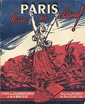 """World War II. """"Paris brise ses chaînes"""" (Paris breaks its chains), an English work by Georges Fronval about the Liberation of Paris. Cover illustrated by Brantonne. Paris, September 1944. © Roger-Viollet"""
