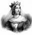 Berthe de Bourgogne (964 -1024), reine de France, seconde femme de Robert II le Pieux (972-1031), roi de France. Lithographie, XIXème siècle.    © Roger-Viollet
