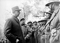 World War II. Generals de Gaulle and June reviewing the French troops on the Italian front, March 1944. © Roger-Viollet