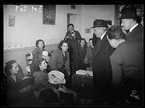 """Spanish Civil war (1939-1936). """"La Retirada"""". Albert Sarraut (1872-1962), French Minister of the Interior, and Marc Rucart (1893-1964), French Minister of Health, visiting Spanish refugees. Arles-sur-Tech (France), on January 31 - February 1st, 1939. Photograph from the Excelsior newspaper. © Excelsior - L'Equipe / Roger-Viollet"""