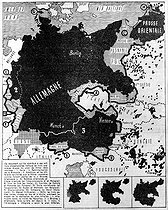 Nazi Germany. Map showing the realization of the first three stages of Hitler's plan (the Saar, remilitarization of Rhineland, Anschluss and different territories which Hitler considered as being part of the Great Germany). March 1939. © Roger-Viollet