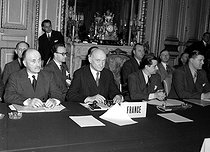 Robert Schuman (1886-1963), French Foreign Secretary, and Jean Monnet (1888-1979), French economist, on the left, during the signing of the constituent treaty of the E.C.S.C. (European Coal and Steel Community), April 1951. © Roger-Viollet