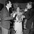 "Shooting of ""Elena et les Hommes"", film by Jean Renoir (1956). Mel Ferrer, Ingrid Bergman and Jean Marais. France, on December 27, 1955. © Alain Adler / Roger-Viollet"