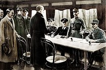 World War I. Signing of the armistice. From left to right : General Weygand, Marshal Foch, Sir R. Wemyss, Sir Hope, Captain Marriot, General Winterfeldt, Oberndorff and Vaniielow, in the carriage 2419 of the Orient Express. Colourized photo. Rethondes (France), on November 11, 1918. © Roger-Viollet