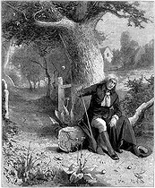 Isaac Newton (1642-1727), English mathematician and astronomer, discovering the notion of gravity thanks to apple tree of Woolsthorpe. Engraving of L. Lesestre after Meunier, 1880. © Roger-Viollet