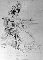Harriet Smithson ( 1802-1853 ), Irish actress, first wife of Hector Berlioz, French composer. Devéria's lithography. Paris, National music Conservatoire. © Roger-Viollet