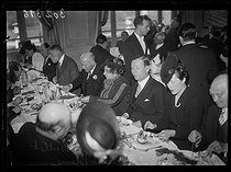 "French presidential election of 1939. William C. Bullitt (1891-1967), American ambassador to France, Colette (1873-1954), French novelist, and Julius Lukasiewicz (1891-1947), Polish ambassador to France, attending the traditional lunch organized at the Trianon-Palace. Versailles (France), on April 5, 1939. Photograph from the collections of the newspaper ""Excelsior"" © Excelsior – L'Equipe/Roger-Viollet"