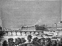 The pont des Arts, towards the Louvre (on the right). Paris (Ist and Vith arrondissements). Engraving by Branston (1836). © Roger-Viollet