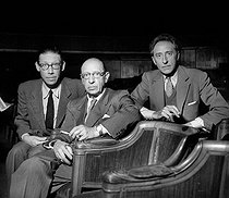 "Igor Stravinsky attending a rehearsal of his oratorio ""Oedipus Rex"" with his son and Jean Cocteau. Paris, Théâtre des Champs-Elysées, May 1952.  © Studio Lipnitzki / Roger-Viollet"
