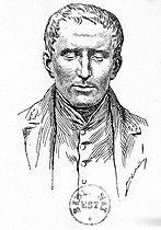 Louis Braille (1809-1852), professor and French organist, inventor of a system of writing for the blind. Engraving, B.N.F. © Roger-Viollet