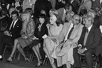 Alain Delon, Mireille Darc, Mireille Mathieu, Ludmilla Tcherina, Henri Verneuil and Arthur Conte, during a meeting of Valéry Giscard d'Estaing, running for President. Paris, May 1981. © Jacques Cuinières / Roger-Viollet