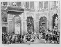 Coronation of Napoleon Bonaparte and Josephine de Beauharnais at the Notre-Dame cathedral. Paris, on December 2nd, 1804. Lithograph by Motte after Courtin. Paris, French National Library. © Collection Harlingue/Roger-Viollet