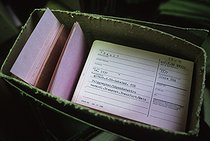Forms of the Stasi central archives. Archives can be consulted by Germans wanting to know who denounced them at the time of communism.. Berlin (Germany), 1992. © Jean-Paul Guilloteau/Roger-Viollet