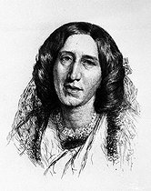 George Eliot (1819-1880), English woman of letters, 1864.  © Roger-Viollet