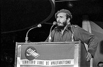Fidel Castro (1926-2016), Cuban revolutionary and statesman, making a speech in the first Cuban city without illeterates. Melena del Sur (Cuba), circa 1960. © Gilberto Ante/Roger-Viollet