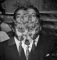 Salvador Dali (1904-1989), Spanish painter and engraver. Double exposure on a single view. © Jack Nisberg / Roger-Viollet