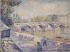 """Frank Milton Armington (1876-1941). """"Démolition du pont de la Tournelle"""". Crayon, aquarelle, gouache. 1919. Paris, musée Carnavalet. © Musée Carnavalet / Roger-Viollet"""